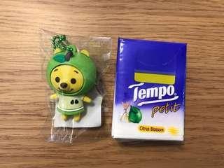 Winnie the pooh 小熊維尼青蘋果造型鎖鑰扣