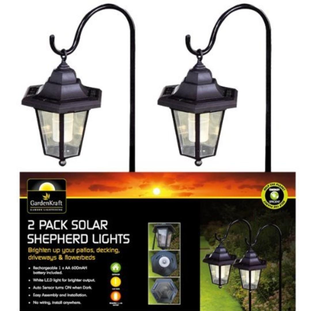 1278  Solar Metal Shepherds Crook Garden Light (Pack of 2)