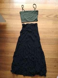 Black skirt (partial lace)