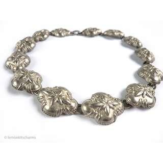 Vintage 1980s Matte Silvertone Southwestern Style Necklace, nk667