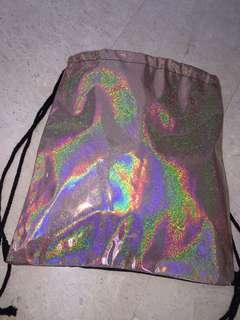 Pink holographic drawstring bag