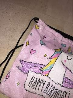 Drawstring Bag unicorn pink colour changing