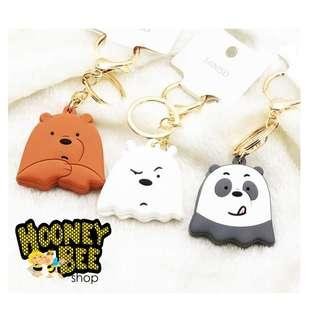 Miniso - Gantungan Kunci We Bare Bears Clip Gold Stainless Stell