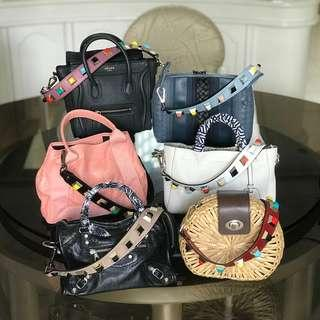 PIUMELLI Pyramid Studded Short Bag Strap Real Leather On Hand