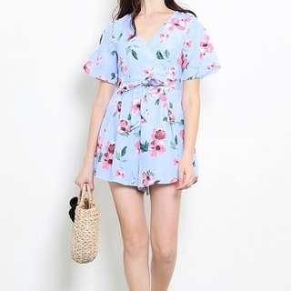 [BN] 🌸SHOPSASSYDREAM Anna Playsuit Mint Floral - XS