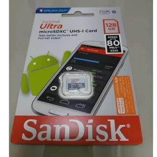🚚 100% Genuine Brand New SanDisk Ultra MicroSD 128GB speed upto 80MBs 10yrs warranty by Convergent System !!