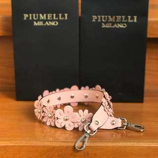 PIUMELLI Floral Leather Short Bag Strap Blush Pink Piumelli Strap Real Leather