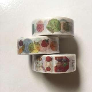 Fruits veggie and books washi tape