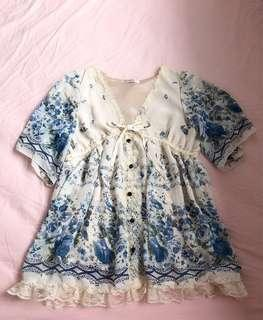 🚚 Blue flower short dress