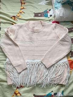 韓國粉紅流蘇扭紋冷衫