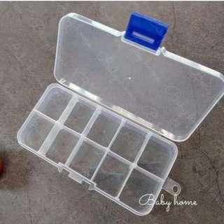 🚚 【10格收納盒-9個入】多功能新款10格 可拆 透明塑膠整理 收納盒 儲物盒 首飾盒 藥盒 SD 首飾收納盒 耳飾髮飾