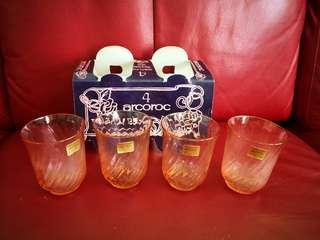 Arcoroc Rosaline Vintage Pink Glass.. Set of 4
