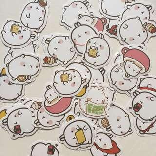 molang cute flake stickers