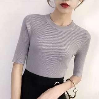 Grey Ribbed Half Sleeve Knit Top