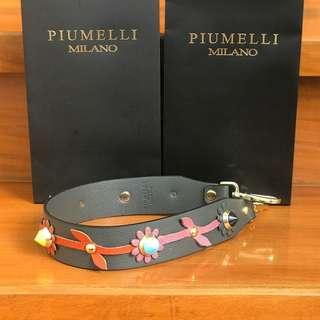 PIUMELLI Floral Leather Short Bag Strap with Studs Gray Piumelli Strap Real Leather