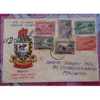 First Day Cover Malacca 1960 Malaya with Stamps