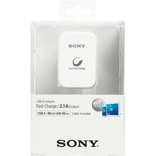 🚚 Sony AC Adaptor 2.1A Fast Charge with A to Micro USB 50cm Cable