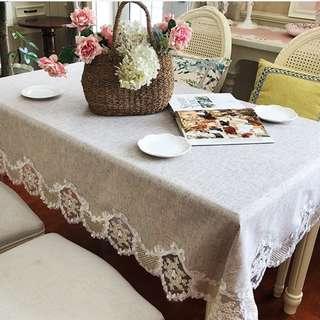 Elegant Table Cloth with Lace Edge, 清雅雷絲邊淨色枱布