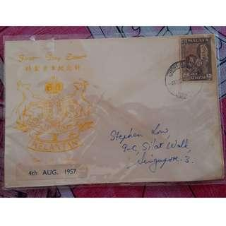First Day Cover Kelantan 1957 Malaya with Stamp
