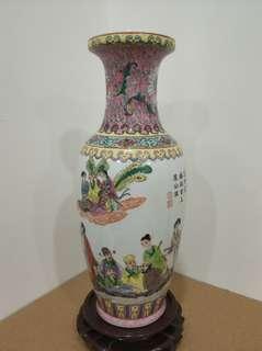 景德鎮 粉彩 八仙花瓶 瓷器 高12吋 底款乾隆年制 花樽 vase