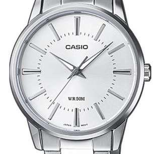 Casio MTP-1303 simplistic & elegant 3-hand waterproof quartz men's watch with brand new black leather strap
