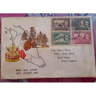 First Day Cover Selangor 1957 Malaya with Stamps