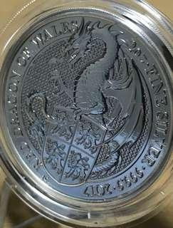 2017 Queen's Beasts Red Dragon of Wales 2 oz Silver BU