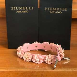 PIUMELLI Floral Leather Short Bag Strap Blush Pink Piumelli Strap