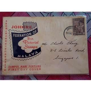 First Day Cover Johore 1957 Malaya with Stamp