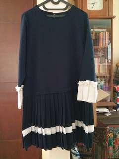 Navy pearl pleated korean dress