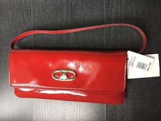 Authentic Celine Red Patent Leather Shoulder Bag/Clutch