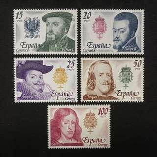 Spain 1979. Spanish Kings - Habsburg Dynasty complete mint stamp set
