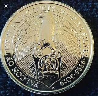 2019 UK Queen's Beasts The Falcon BU 2 oz Silver Coin