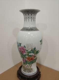 60年代 文革前 景德鎮 粉彩 花瓶 觀音瓶 高12吋 出口創匯 瓷器 花樽 vase