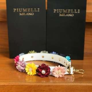 PIUMELLI Floral Leather Short Bag Strap White Piumelli Strap
