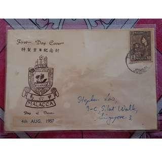 First Day Cover Malacca 1957 Malaya with Stamp