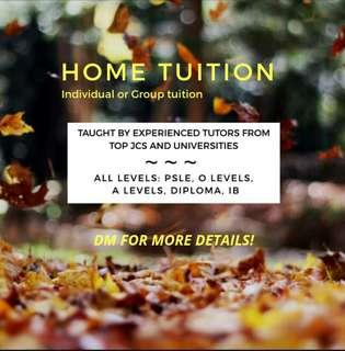 Home Tuition *experienced tutors*