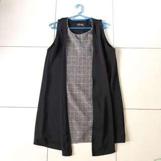 Grey Tweed Black Vest Dress