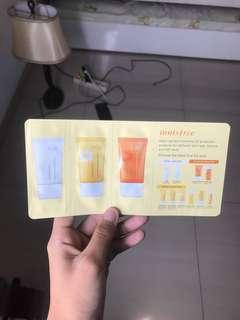 Innisfree sunscreen trio sample