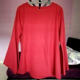 Maroon Blouse flare arms