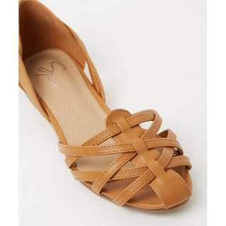 Tan Cut Out Flats