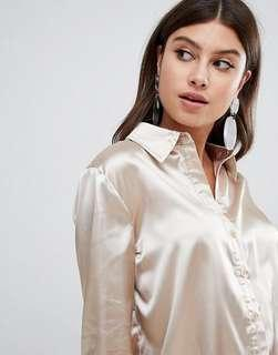 Prettylittlething Satin Shirt