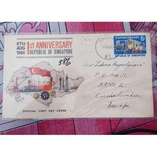 First Day Cover Singapore 1966 1st National Day with Commemorative Stamp