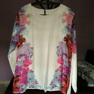 Floral Top White Blouse fits up to M