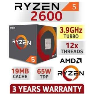 AMD Ryzen 5 2600 3.4 GHz 6-Core AM4 Processor w/ Wraith Stealth Cooler (YD2600BBAFBOX)