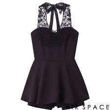 AIR SPACE 蕾絲花紋緞帶繞頸連身褲裙洋裝(黑)