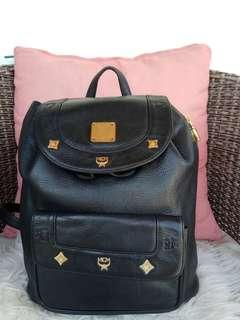 MCM medium black backpack