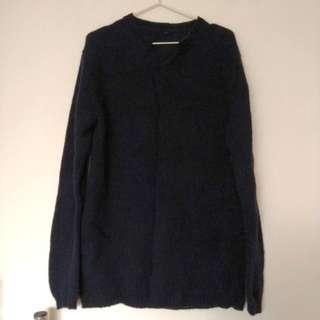 🚚 無印良品深藍色舒適氣質毛衣XL