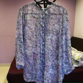 Marks & Spencer Classic sheer floral blouse size UK18 EUR46 n/p rm256