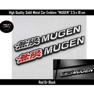 High Quality Solid Metal Car Emblem Design MUGEN Sticker Red Or Black 2.5 x 18 cm